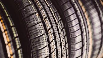 Close up image of three all season tires