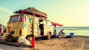 Van on beach