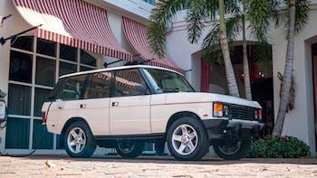 White Tesla-powered Range Rover