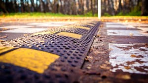 Close up image of speed bump