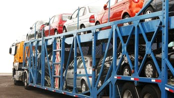 Vehicles being transported