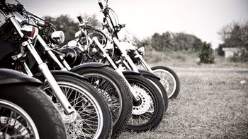 Motorcycles in row