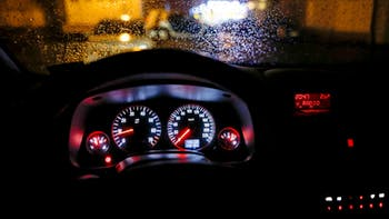 Car windshield with rain drops