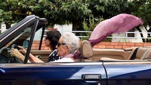 Grandma driving a car
