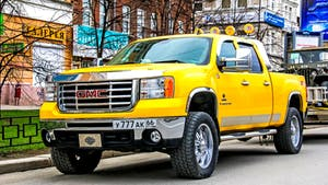 Yellow GMC Sierra