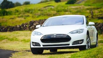 White Tesla Sedan