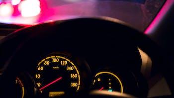 Speedometer during night drive