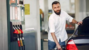 Man in the gasoline station