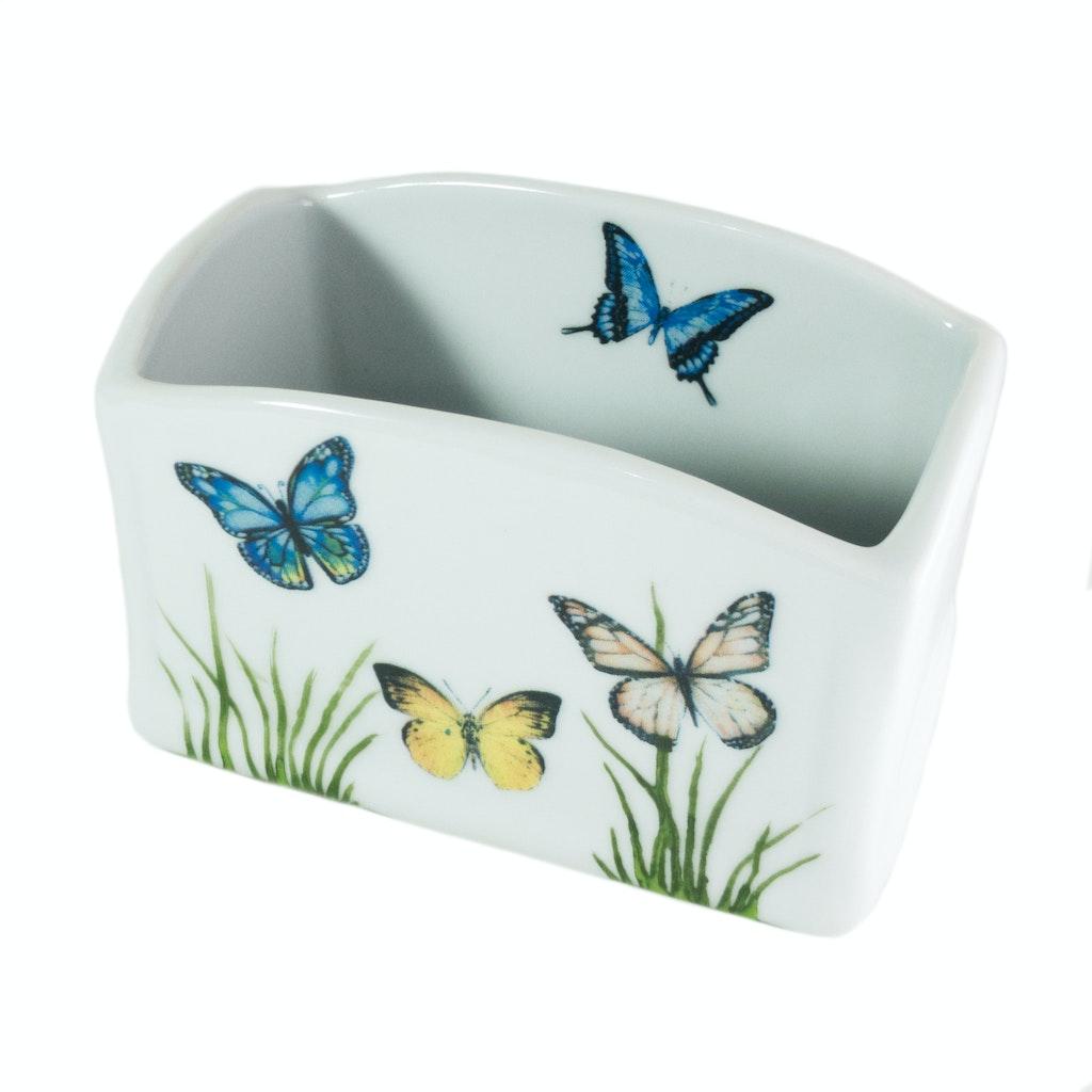 Porta-sachês de porcelana com borboletas