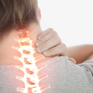 person suffering from neck pain