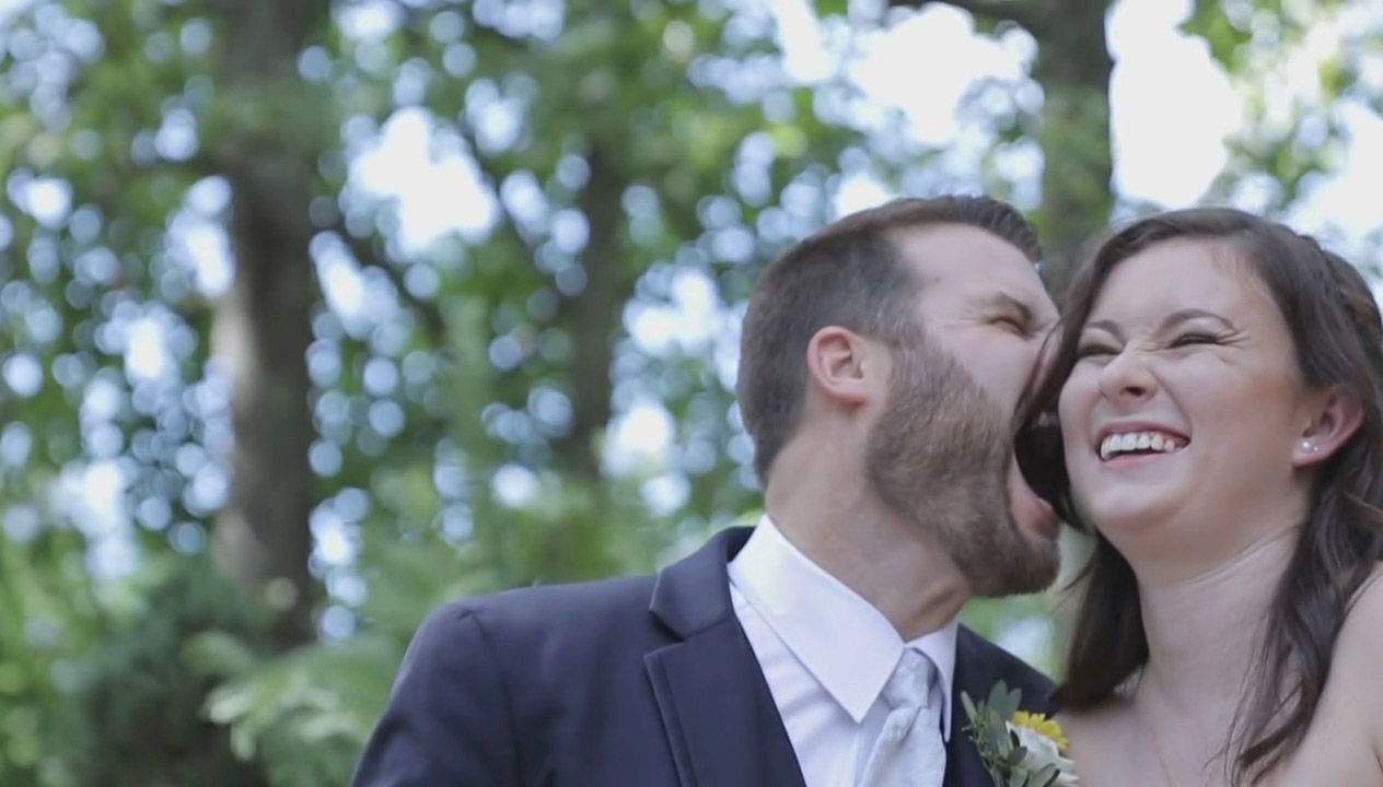 Carly and Brian being silly before their wedding ceremony