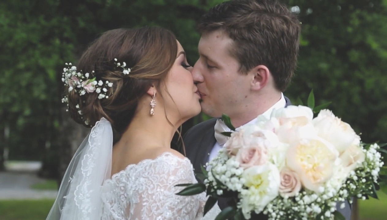 Eden and Daniel right after their wedding ceremony