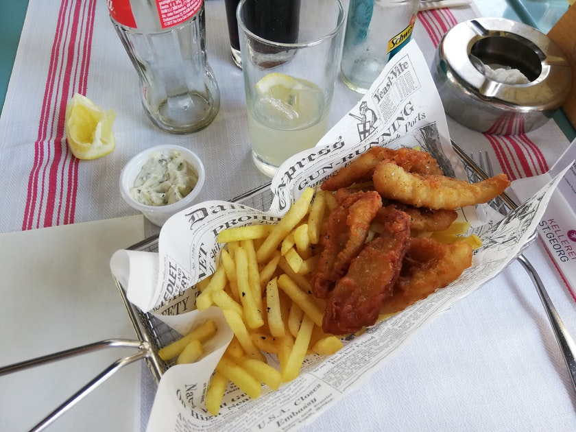 Fish and chips  on table
