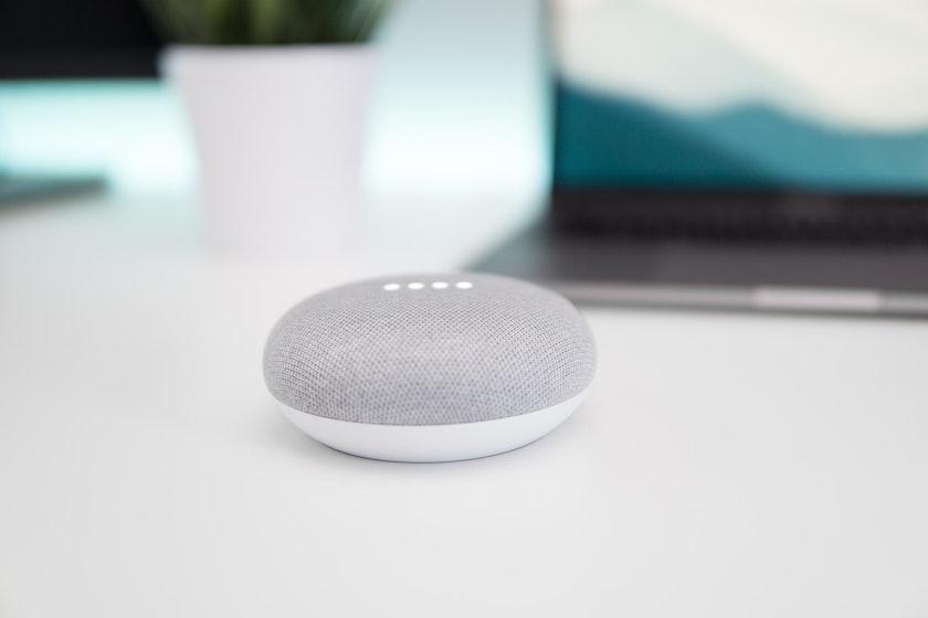 Google Home Mini on desk