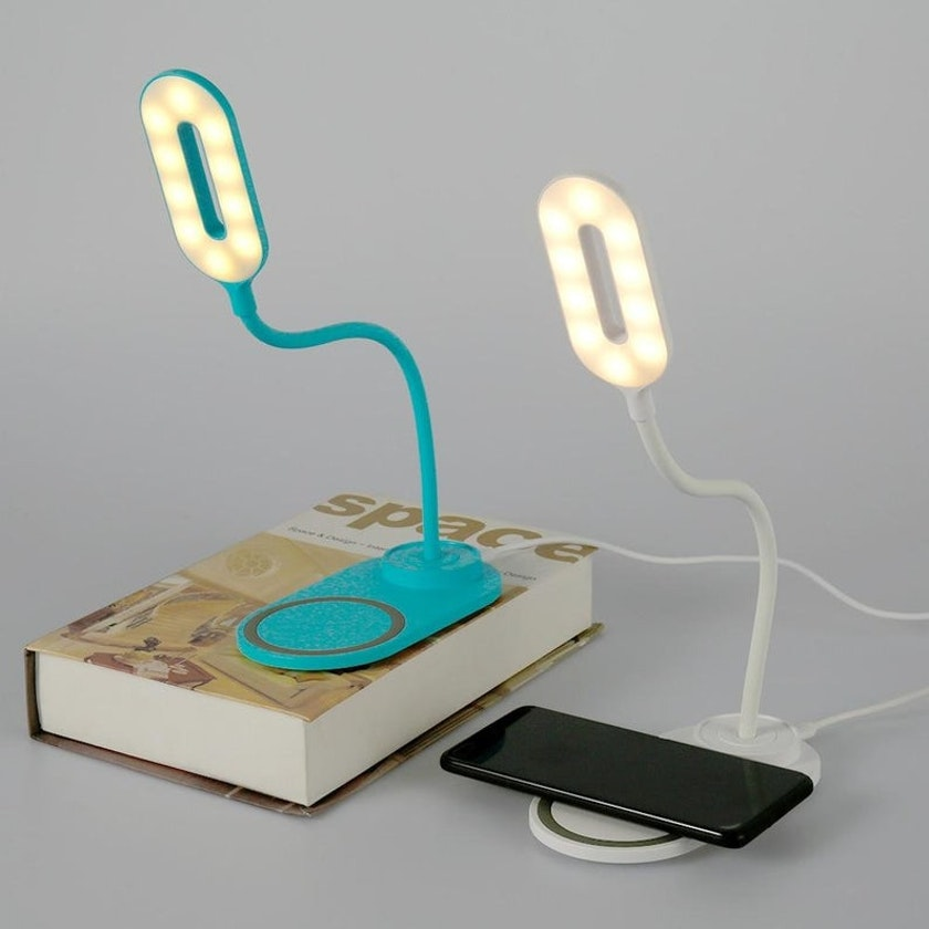 Two desk lamps with wireless chargers