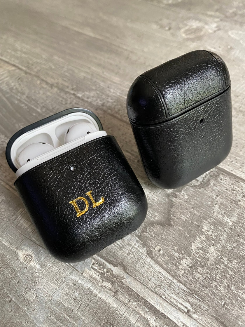 Personalised black leather AirPods case