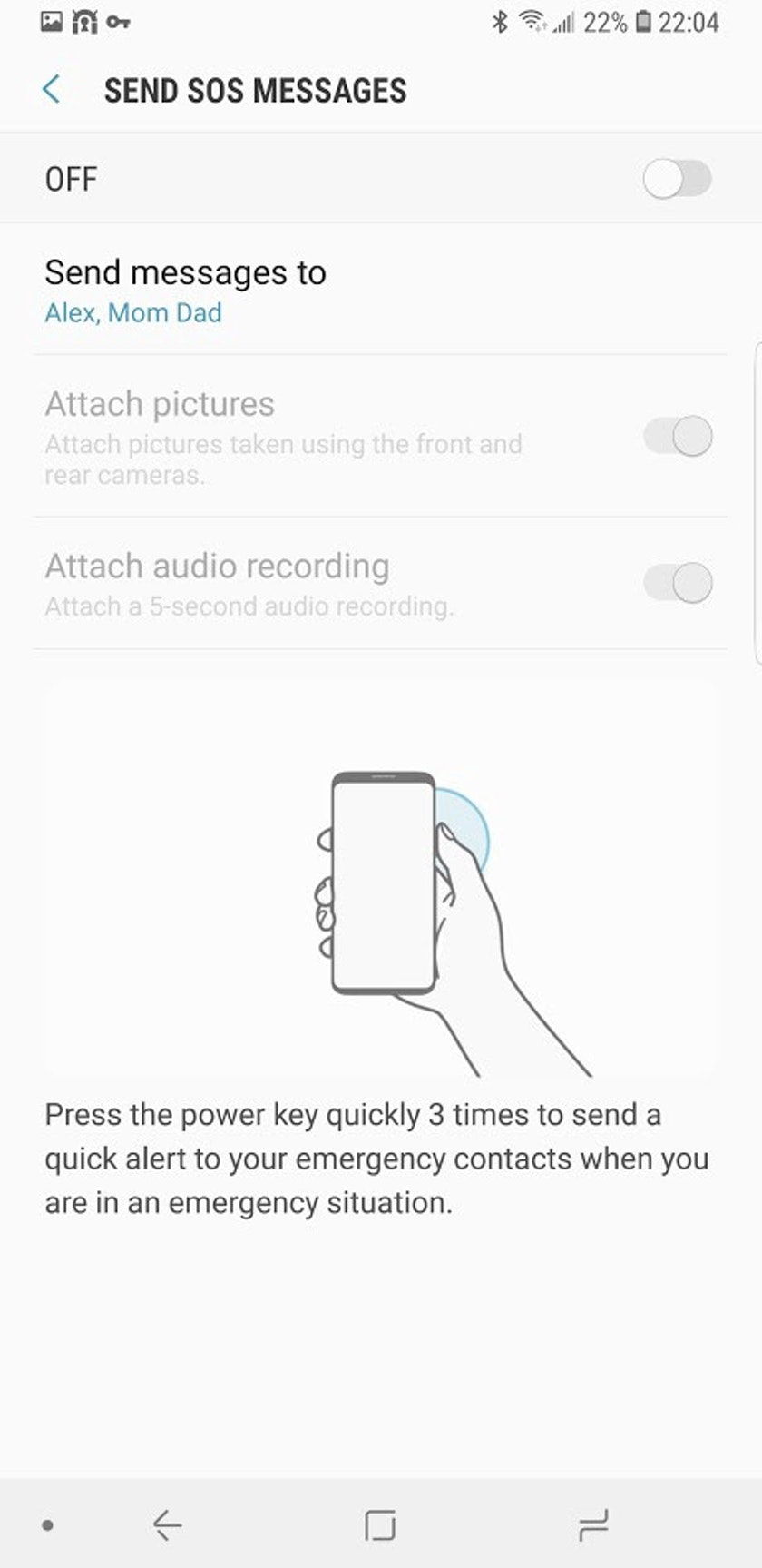 Send SOS messages screen on a Samsung device