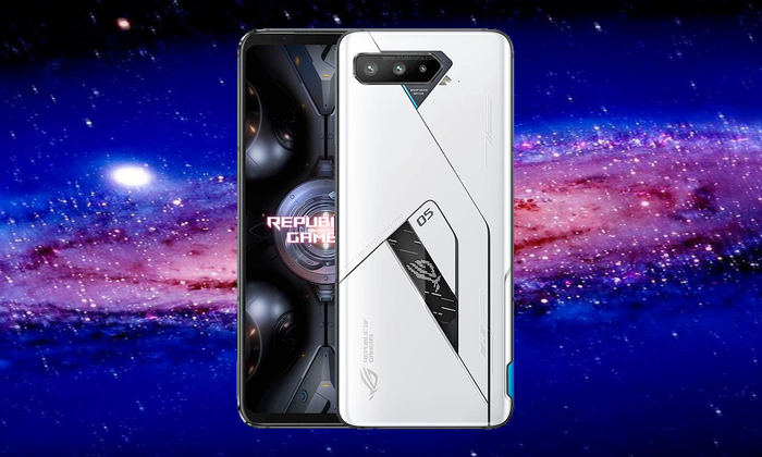 An image of the new ASUS ROG 5 gaming phone on a galaxy background