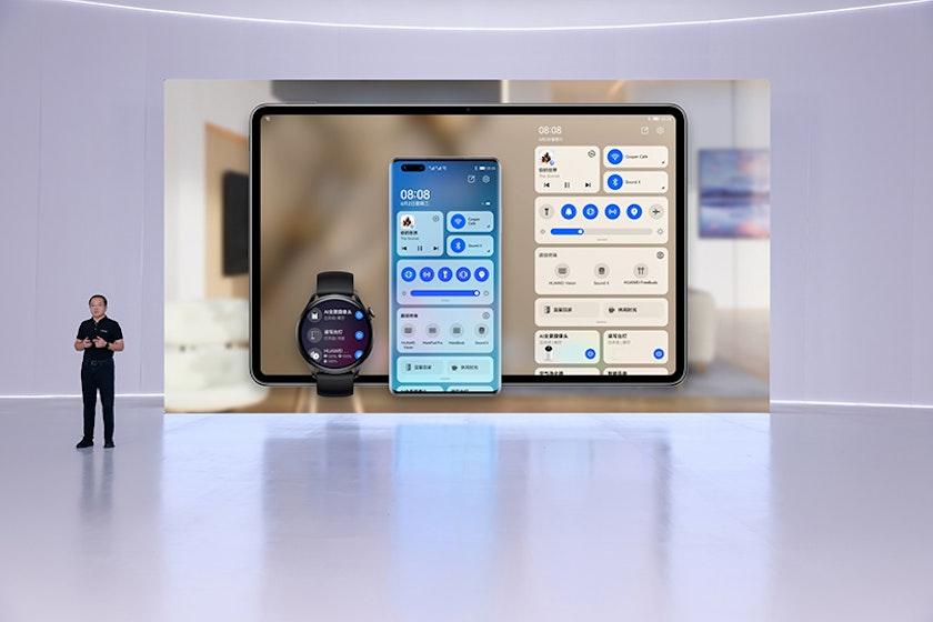 Huawei tablet smartphone smartwatch on HarmonyOS
