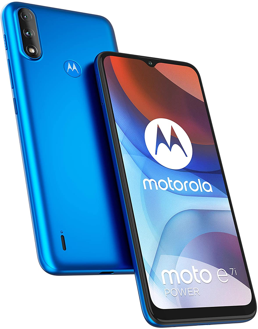 front and back view of motorola moto e7i mobile phone