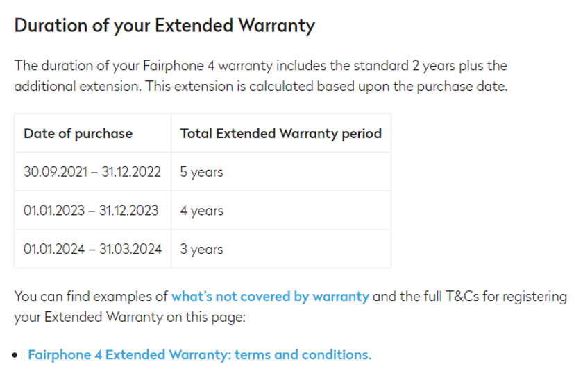 Fairphone 4 extended warranty duration