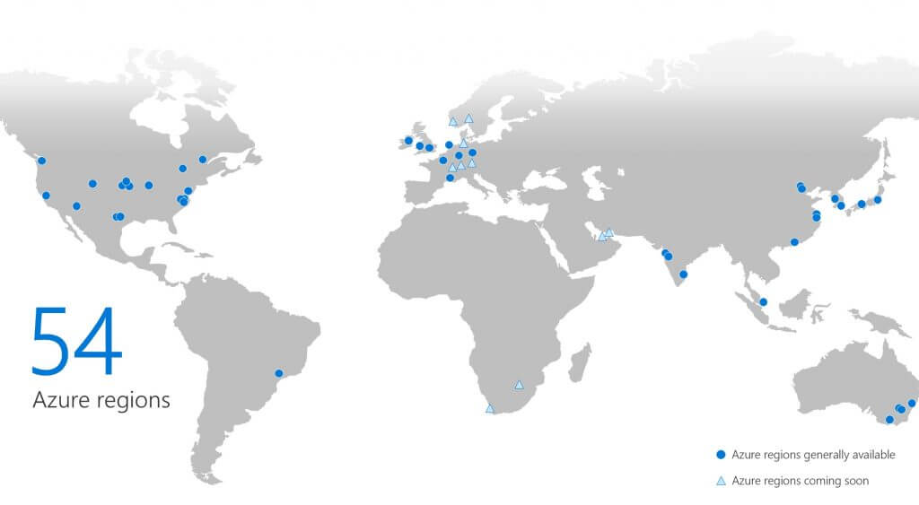 All 54 Azure regions across the world