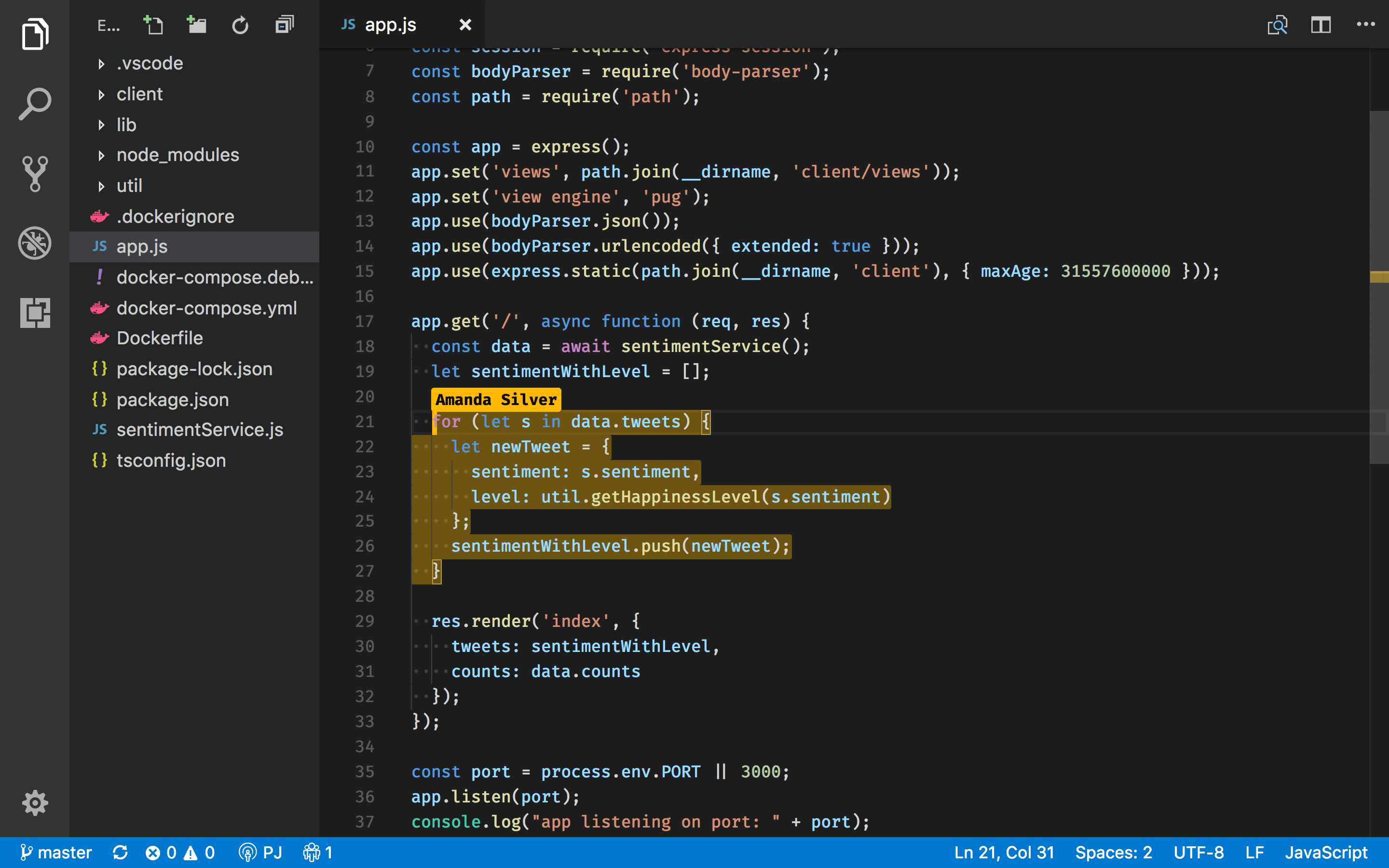 Live Share user interface when a team member joins your Live Share session in VS Code