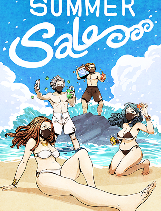 Summer Sale - The starting survivors enjoying a day at the beach wearing masks
