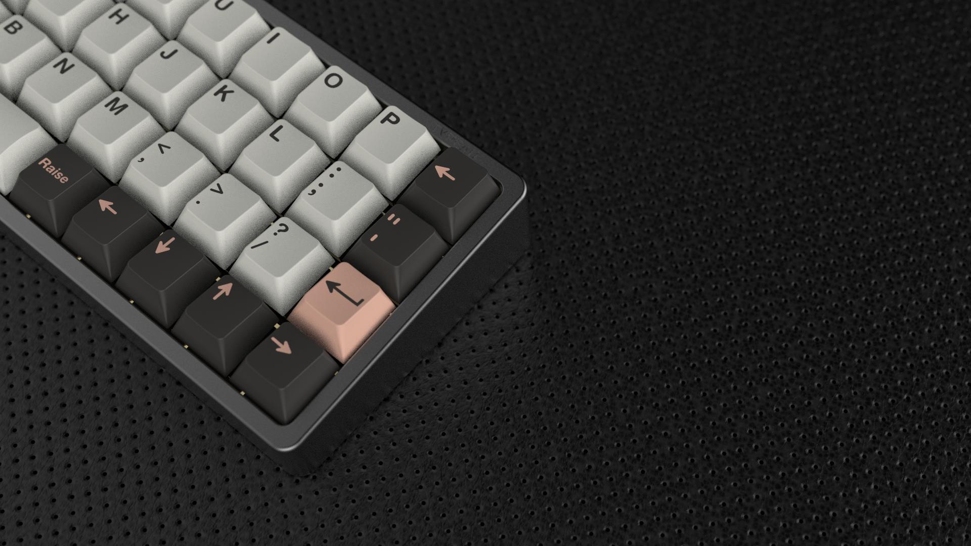 Space Gray Typeau Planck keyboard render with GMK Olivia keycaps