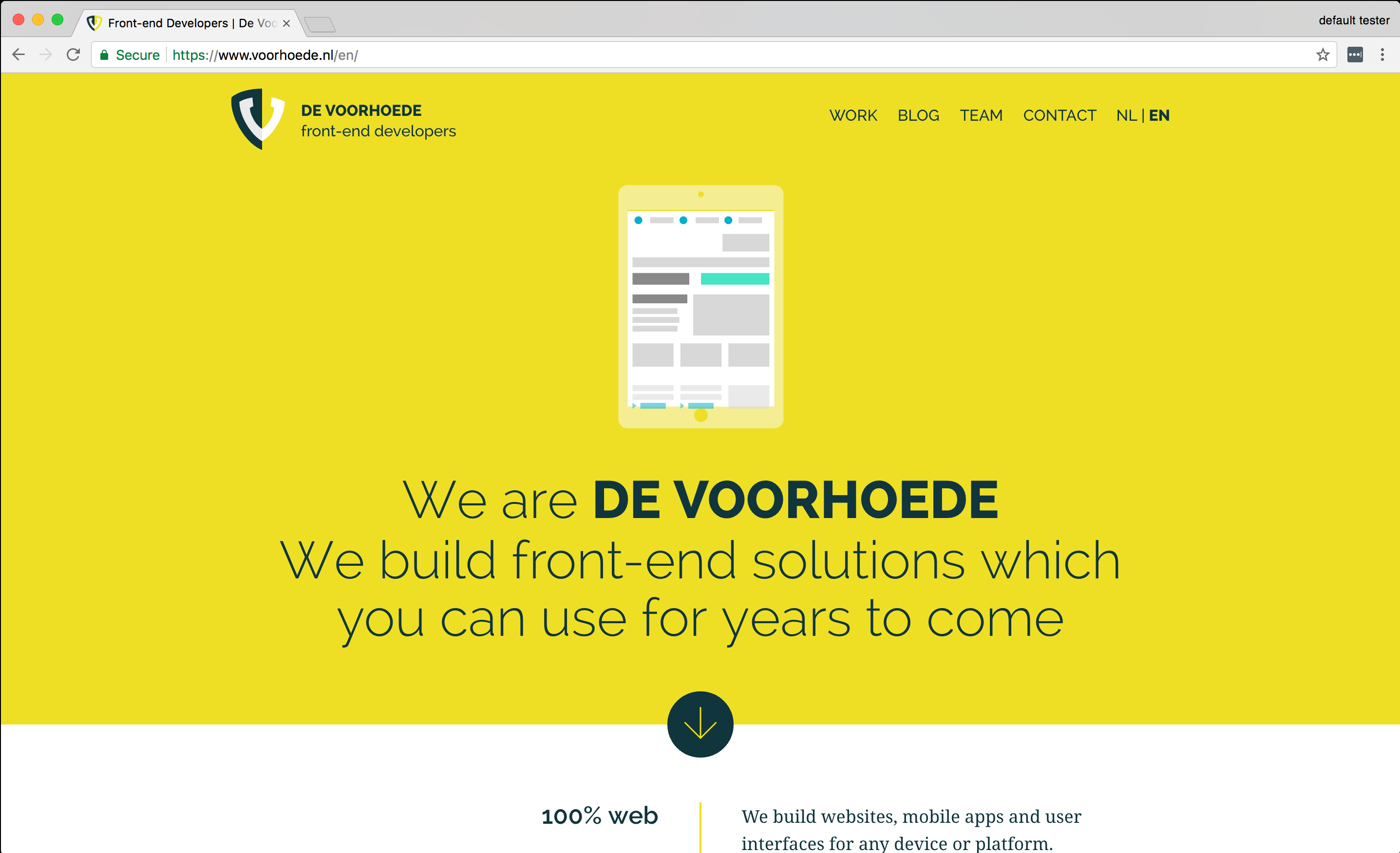 Our website on voorhoede.nl