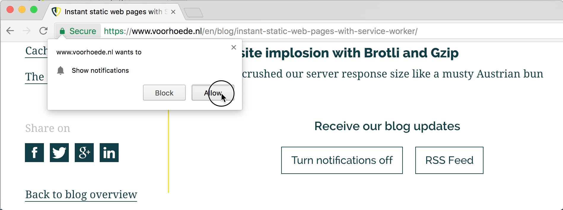 A native prompt to allow push notifications in Chrome opens on top of our website.