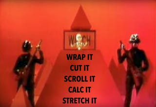 Daft Punk Technologic subtitled Wrap it, Cut it, Scroll it, Calc it, Stretch it.