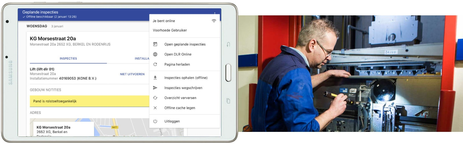 Inspection app on Samsung tablet next to elevator inspector.