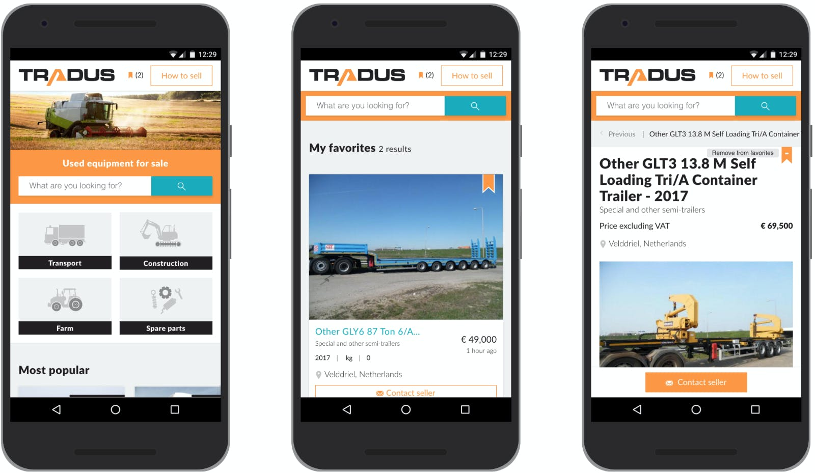 Tradus.com homescreen, favorites and detail page.