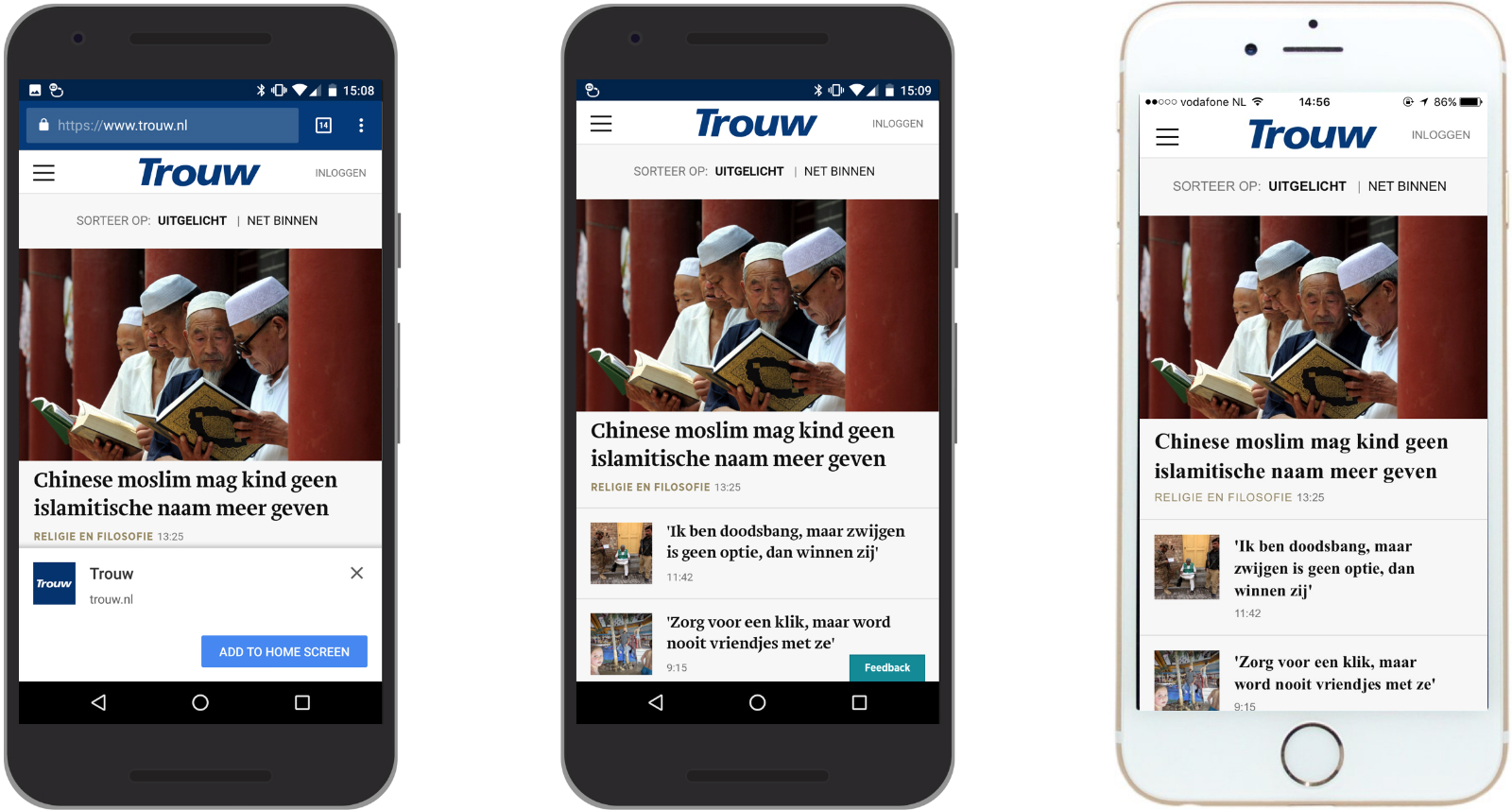 Trouw.nl as PWA in browser (left), as PWA published to Google Play Store (middle) and as PWA published to Apple's App Store (right).