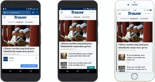 Trouw.nl as app in browser, on Android device and on an iPhone