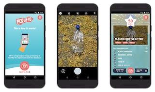 Compositie van de Pick Up 10 app in actie op 3 mobiele telefoons