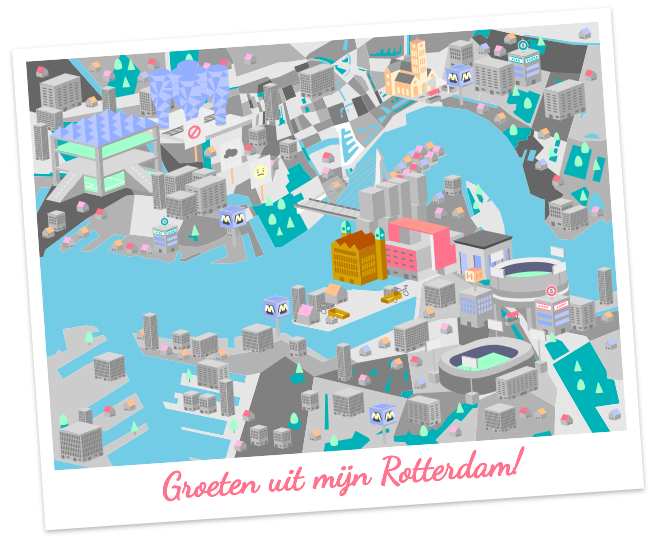 Postcard of the city of Rotterdam from the game Bouwen is Macht
