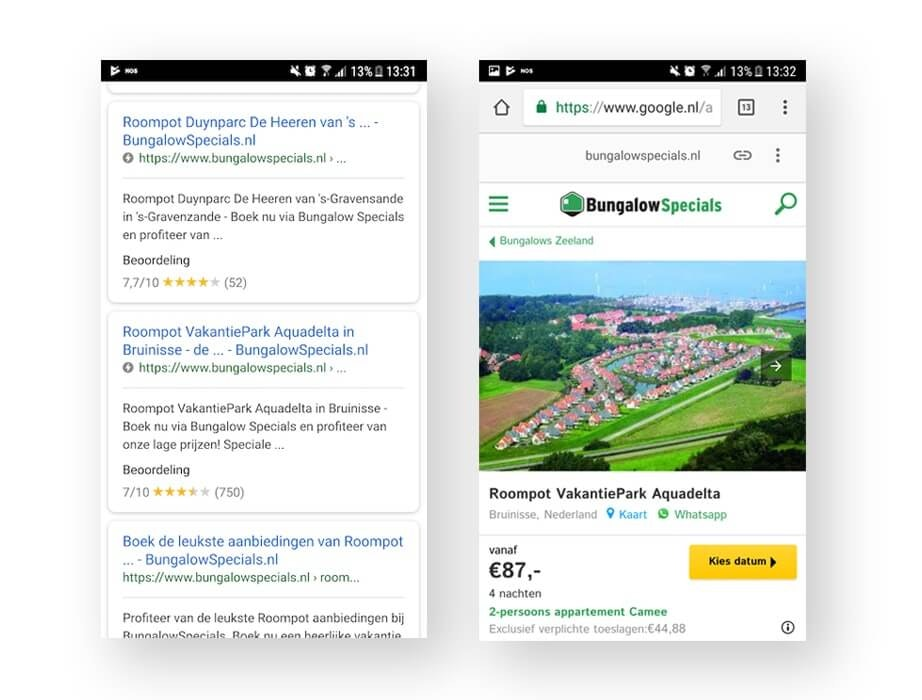 Screenshots of Google search results and BungalowSpecials AMP page on an Android device