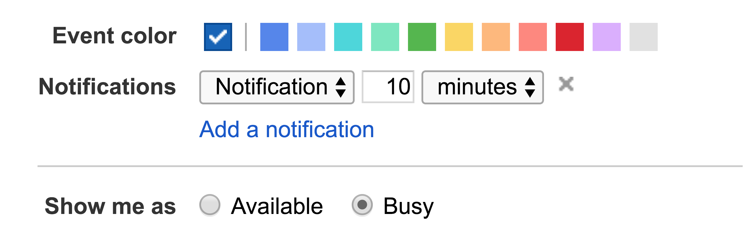 Old Google Calendar UI