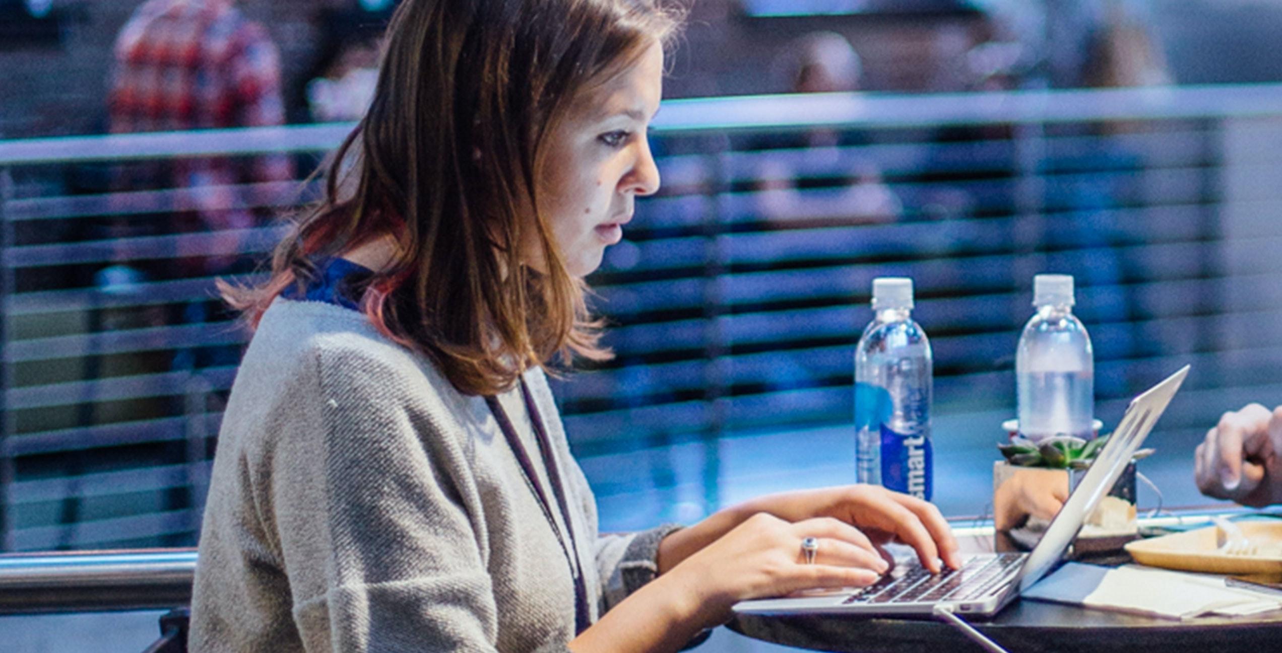 HashiCorp employee working on laptop.
