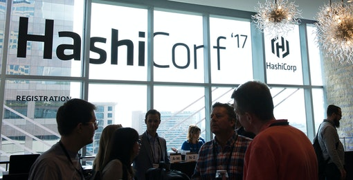View of people and of window at HashiConf 2017.