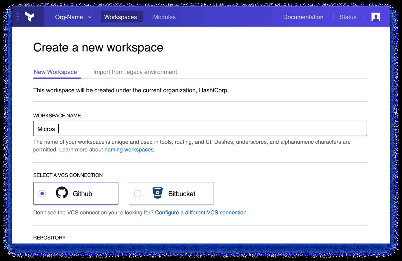 Dashboard - Create a New Workspace