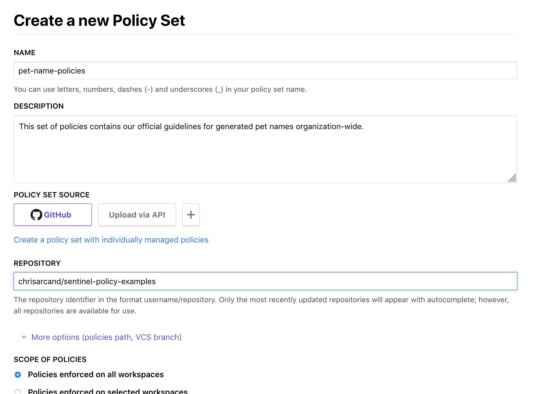 Creating Versioned Policies