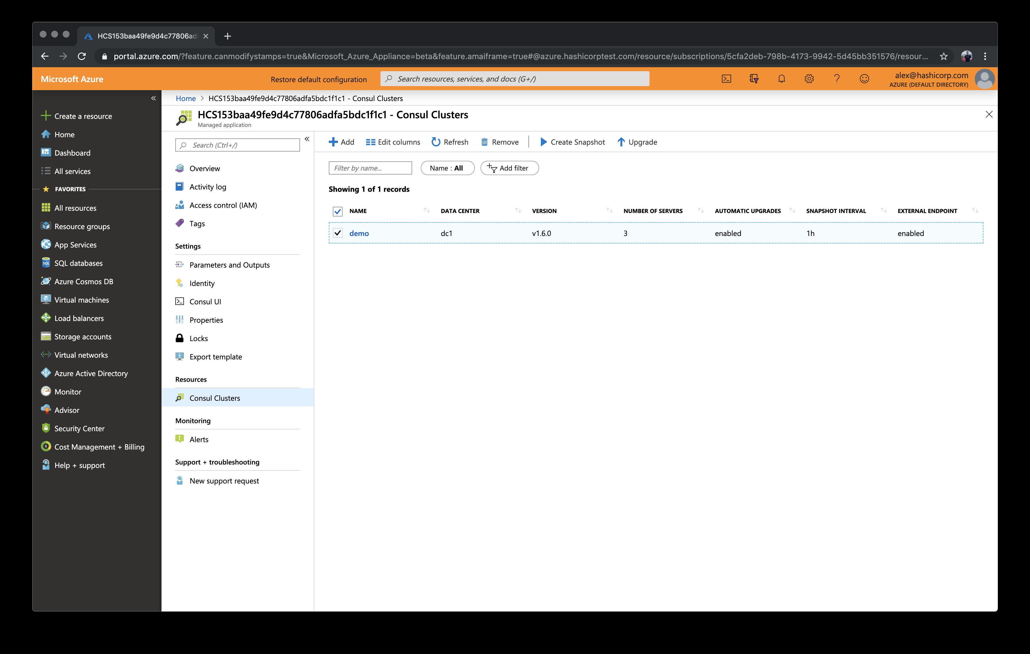HCS on Azure cluster details