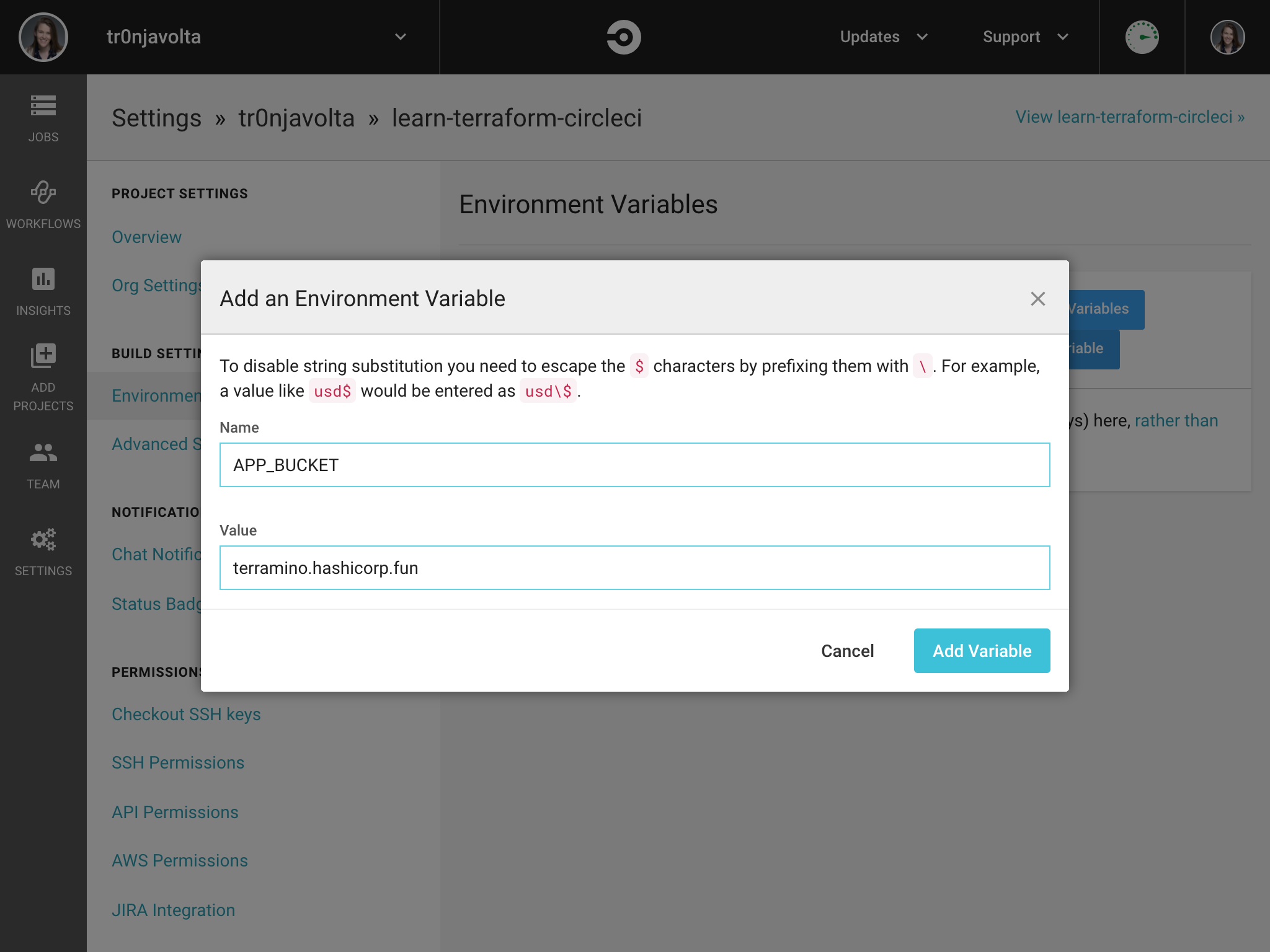 UI view of Add Environment Variable
