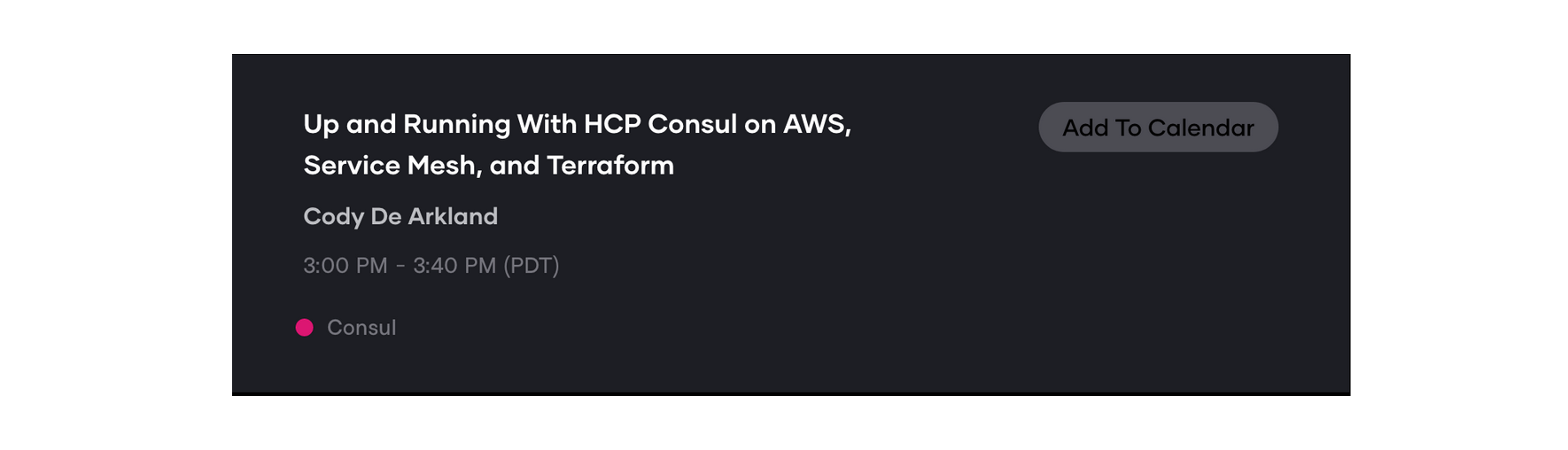 HCP Consul session card for HashiConf 2020 October