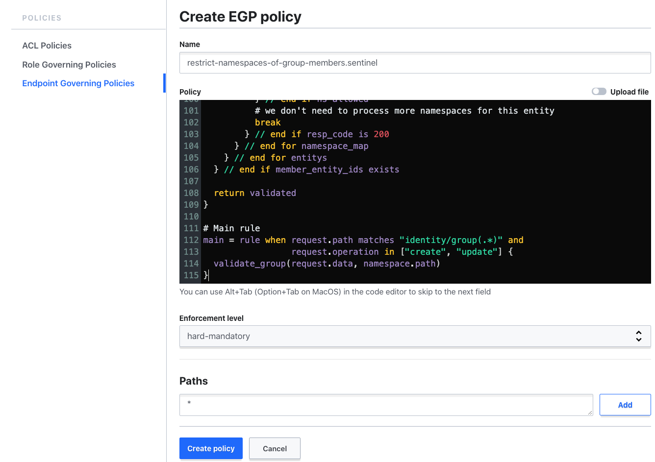 Creating the primary policy in the UI