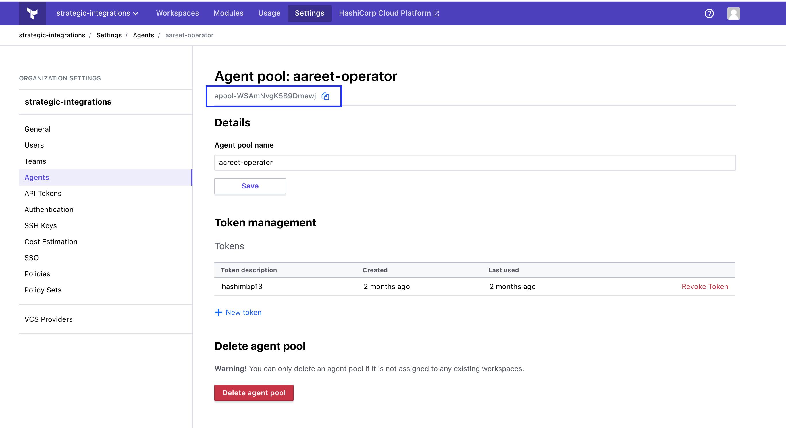 Agent pool details