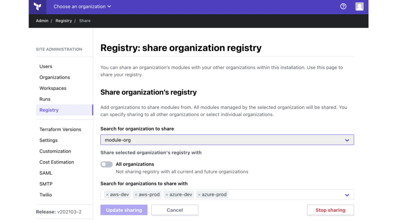 Registry sharing